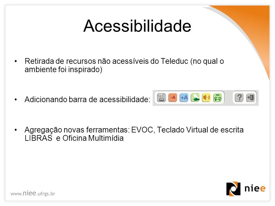 Acessibilidade Retirada de recursos não acessíveis do Teleduc (no qual o ambiente foi inspirado) Adicionando barra de acessibilidade: