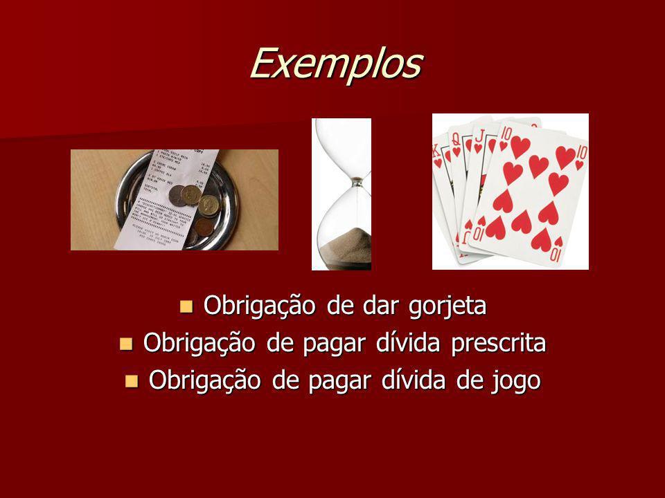 Exemplos Obrigação de dar gorjeta Obrigação de pagar dívida prescrita