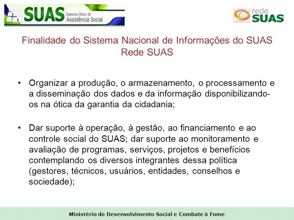 Finalidade do Sistema Nacional de Informações do SUAS Rede SUAS