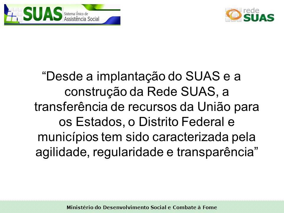 Desde a implantação do SUAS e a construção da Rede SUAS, a transferência de recursos da União para os Estados, o Distrito Federal e municípios tem sido caracterizada pela agilidade, regularidade e transparência