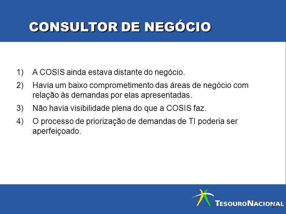 CONSULTOR DE NEGÓCIO A COSIS ainda estava distante do negócio.