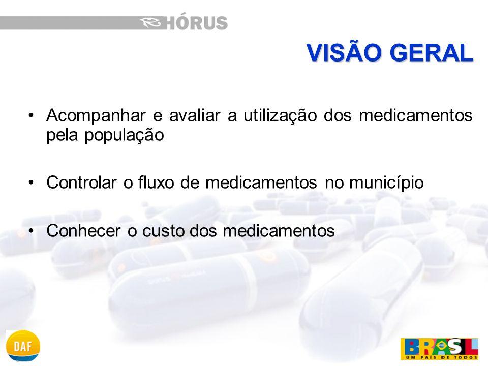 VISÃO GERAL Acompanhar e avaliar a utilização dos medicamentos pela população. Controlar o fluxo de medicamentos no município.