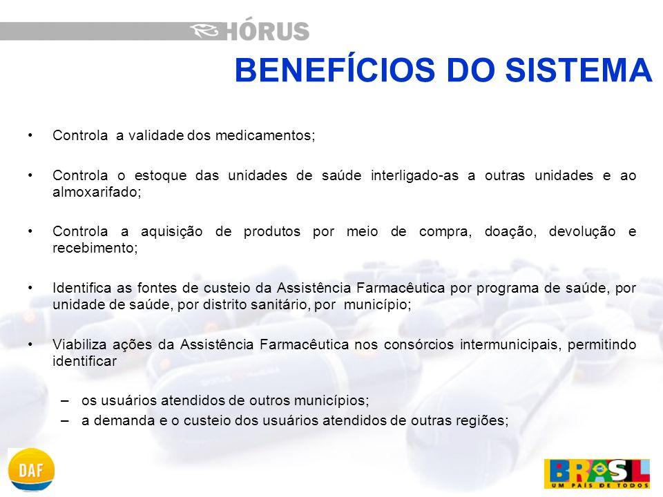 BENEFÍCIOS DO SISTEMA Controla a validade dos medicamentos;