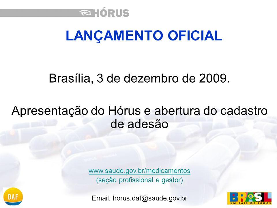 LANÇAMENTO OFICIAL Brasília, 3 de dezembro de 2009.