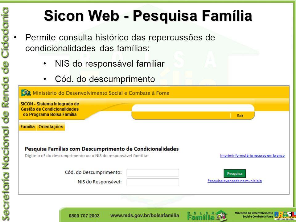 Sicon Web - Pesquisa Família