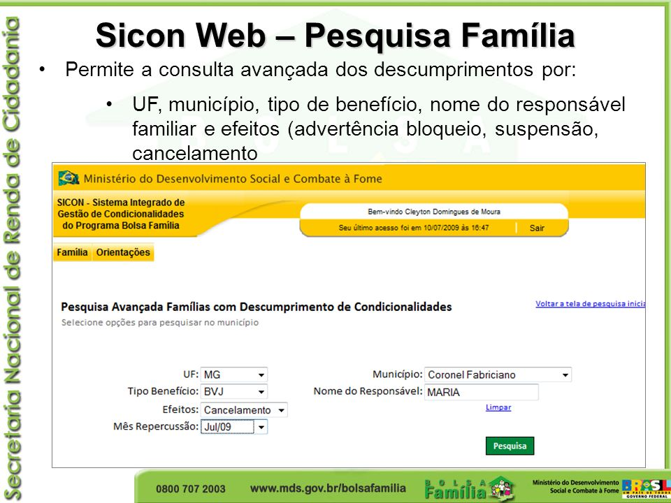 Sicon Web – Pesquisa Família