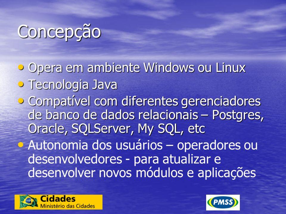 Concepção Opera em ambiente Windows ou Linux Tecnologia Java