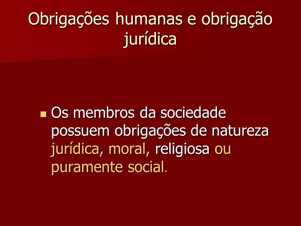 Obrigações humanas e obrigação jurídica