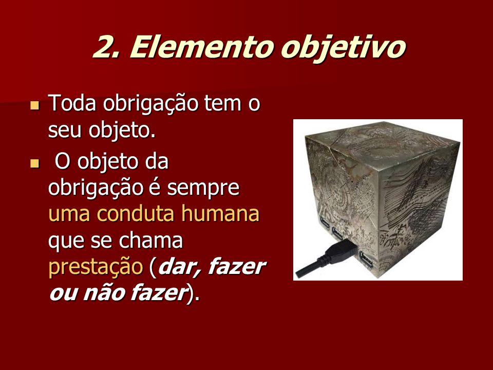 2. Elemento objetivo Toda obrigação tem o seu objeto.