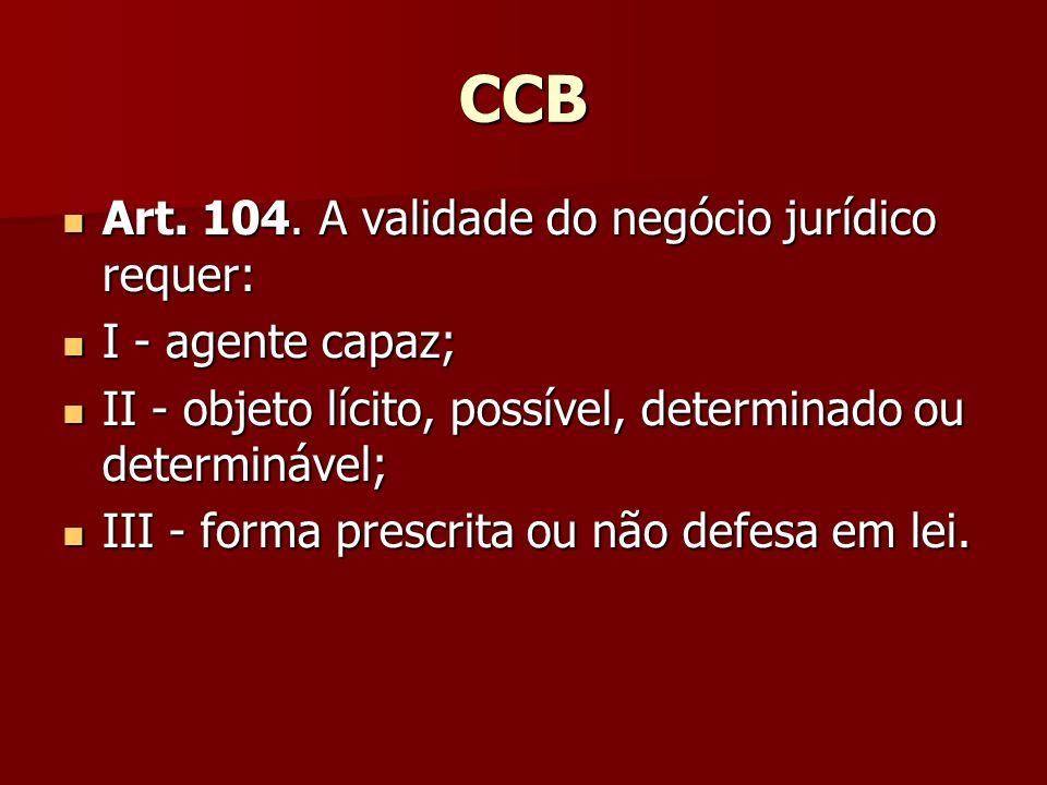 CCB Art. 104. A validade do negócio jurídico requer: I - agente capaz;