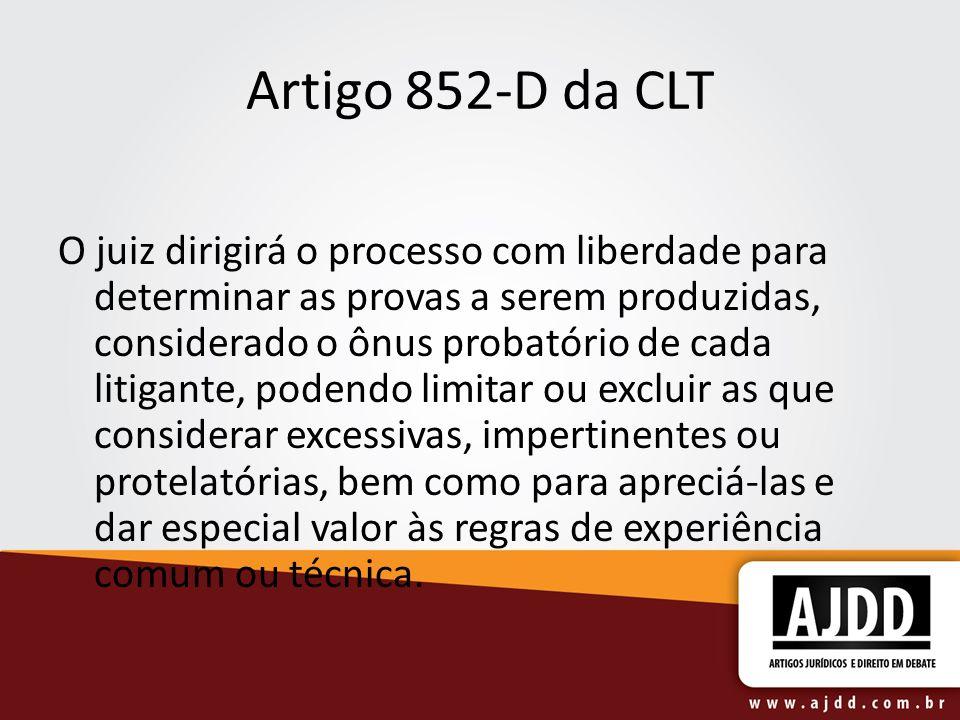Artigo 852-D da CLT