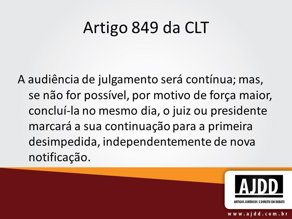 Artigo 849 da CLT