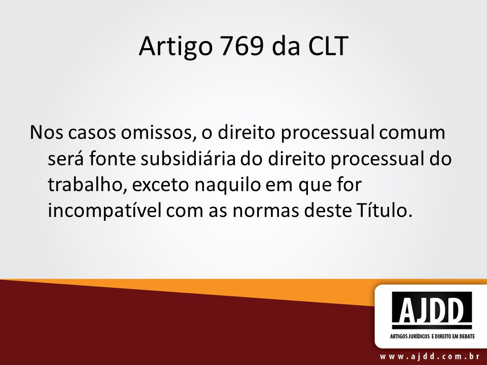 Artigo 769 da CLT