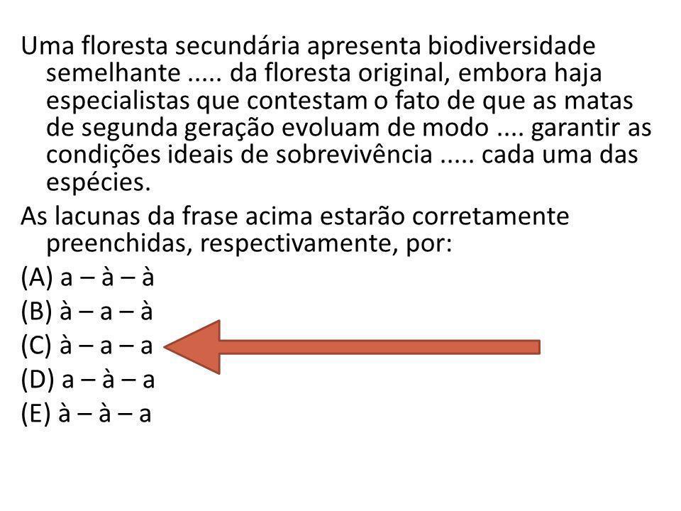 Uma floresta secundária apresenta biodiversidade semelhante