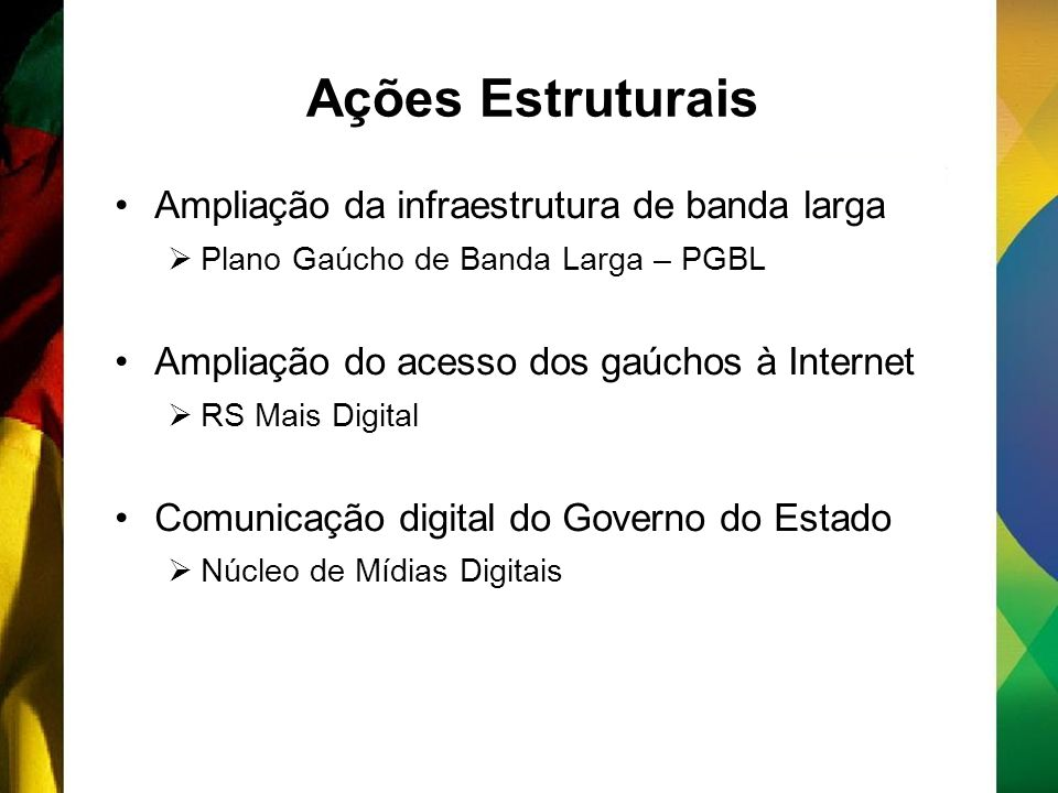 Ações Estruturais Ampliação da infraestrutura de banda larga