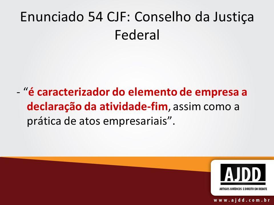 Enunciado 54 CJF: Conselho da Justiça Federal
