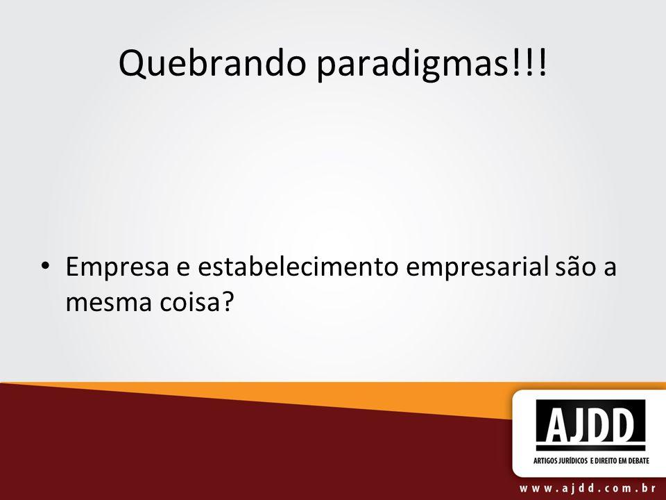 Quebrando paradigmas!!! Empresa e estabelecimento empresarial são a mesma coisa