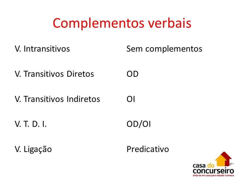 Complementos verbais V. Intransitivos V. Transitivos Diretos V. Transitivos Indiretos V. T. D. I. V. Ligação