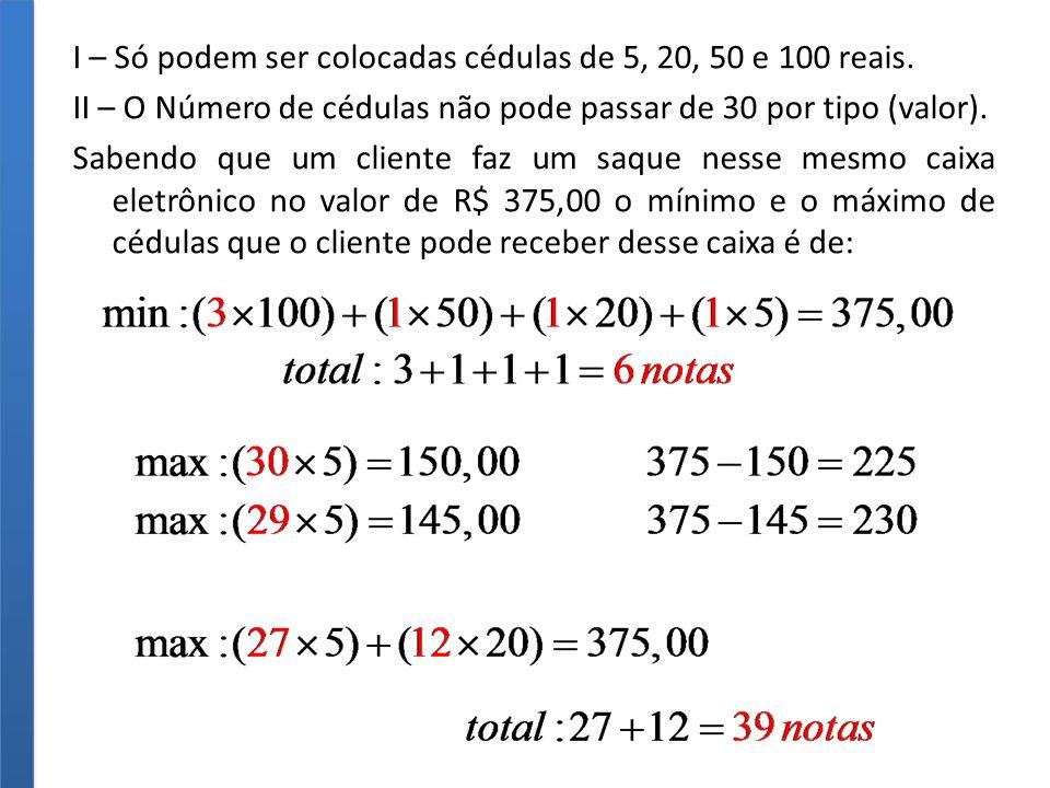 I – Só podem ser colocadas cédulas de 5, 20, 50 e 100 reais