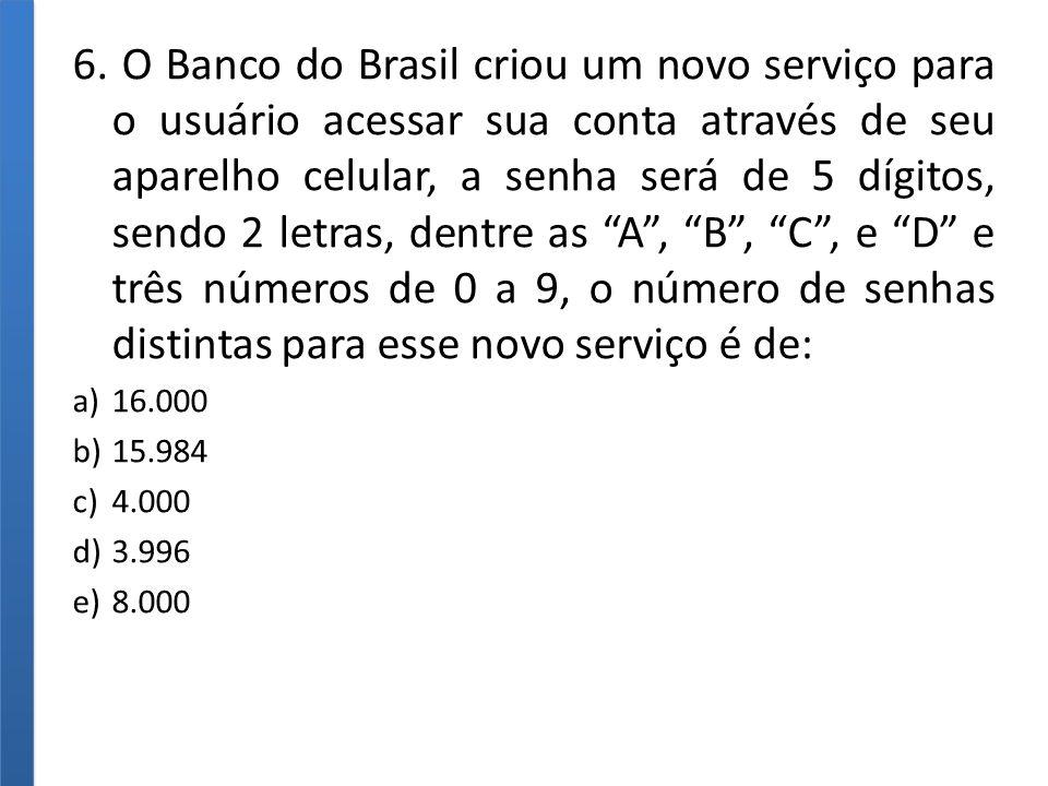 6. O Banco do Brasil criou um novo serviço para o usuário acessar sua conta através de seu aparelho celular, a senha será de 5 dígitos, sendo 2 letras, dentre as A , B , C , e D e três números de 0 a 9, o número de senhas distintas para esse novo serviço é de: