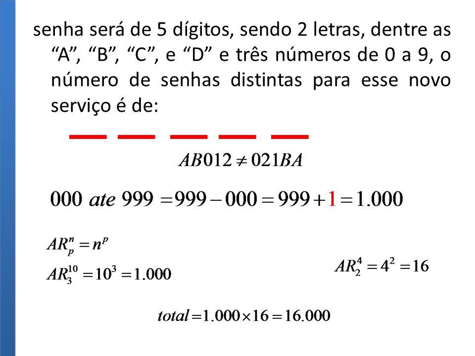senha será de 5 dígitos, sendo 2 letras, dentre as A , B , C , e D e três números de 0 a 9, o número de senhas distintas para esse novo serviço é de: