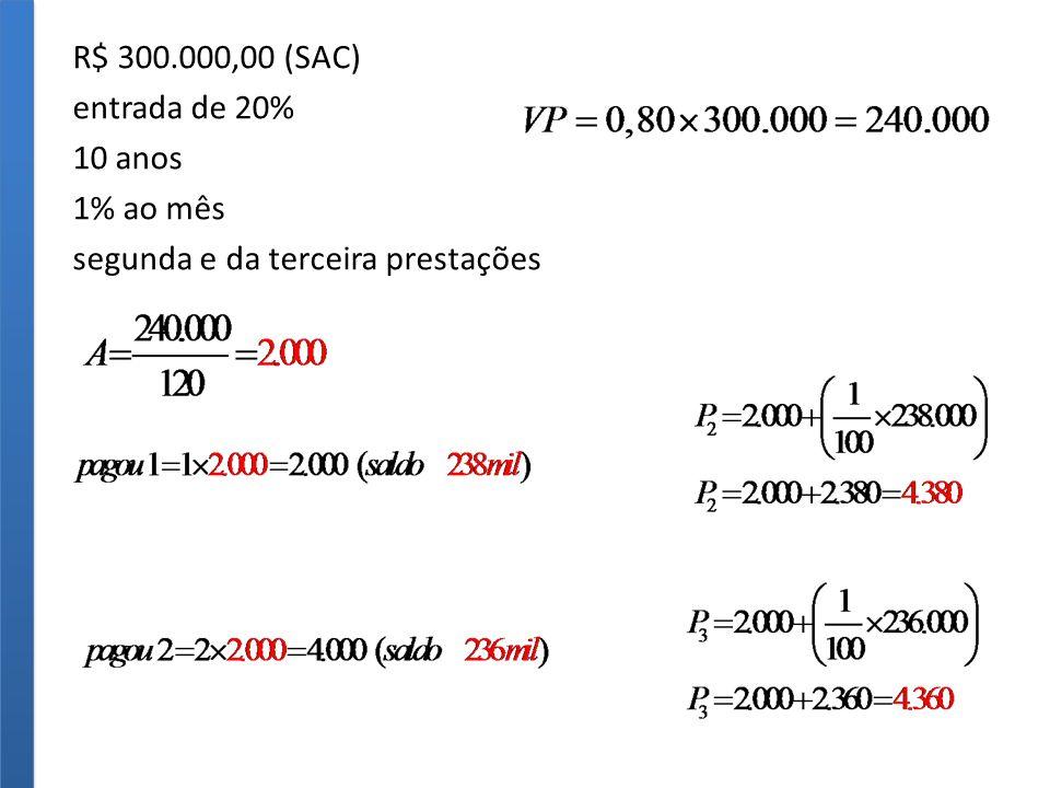 R$ 300.000,00 (SAC) entrada de 20% 10 anos 1% ao mês segunda e da terceira prestações