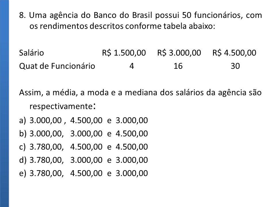 8. Uma agência do Banco do Brasil possui 50 funcionários, com os rendimentos descritos conforme tabela abaixo: