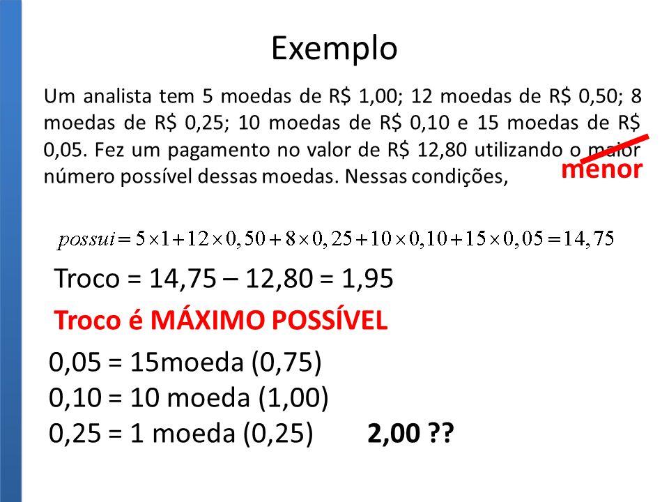 Exemplo menor Troco = 14,75 – 12,80 = 1,95 Troco é MÁXIMO POSSÍVEL