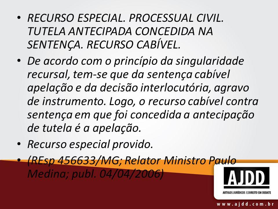 RECURSO ESPECIAL. PROCESSUAL CIVIL