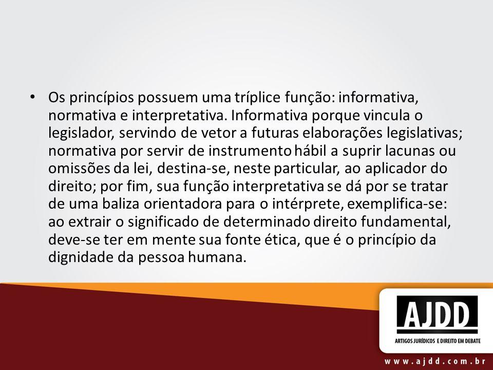Os princípios possuem uma tríplice função: informativa, normativa e interpretativa.