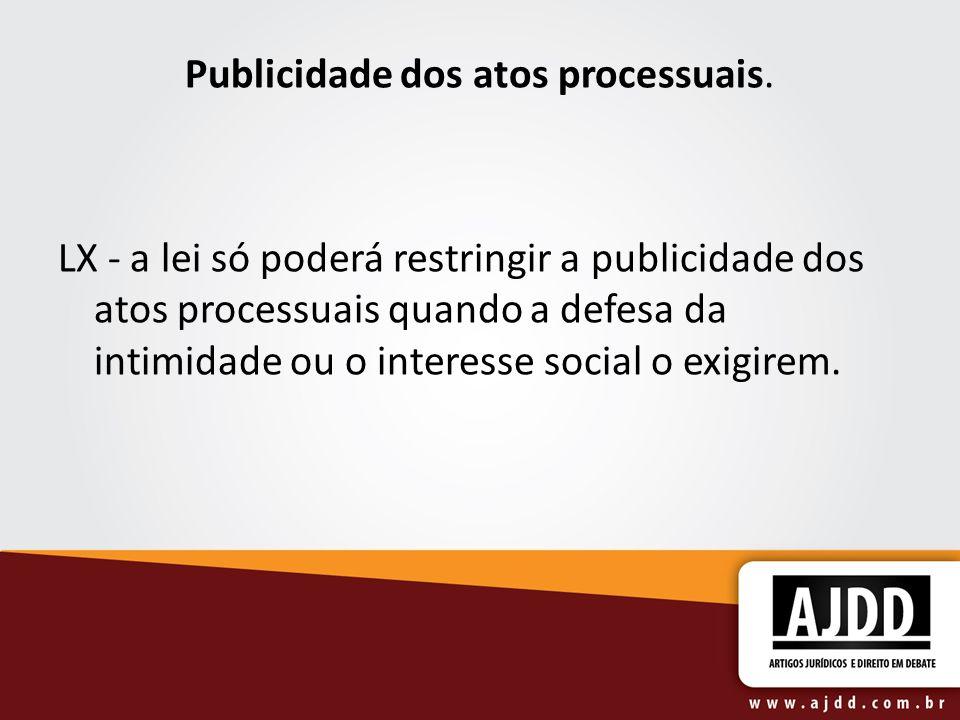 Publicidade dos atos processuais.
