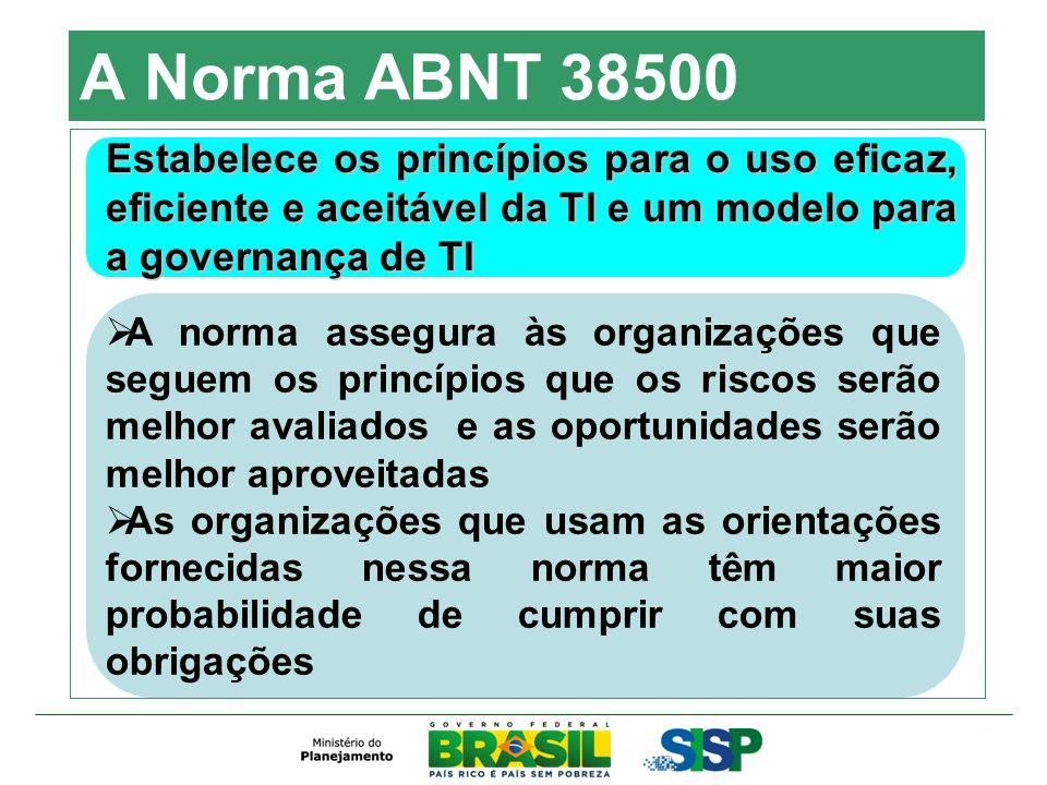 A Norma ABNT 38500 Estabelece os princípios para o uso eficaz, eficiente e aceitável da TI e um modelo para a governança de TI.