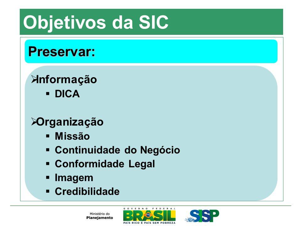 Objetivos da SIC Preservar: Informação Organização DICA Missão