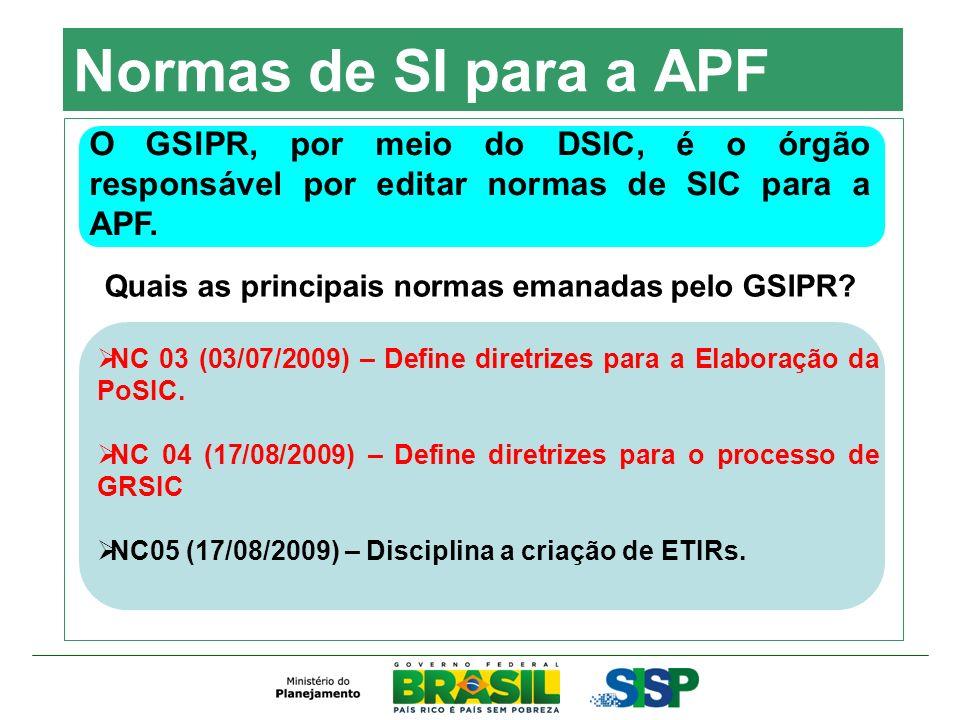 Normas de SI para a APF O GSIPR, por meio do DSIC, é o órgão responsável por editar normas de SIC para a APF.