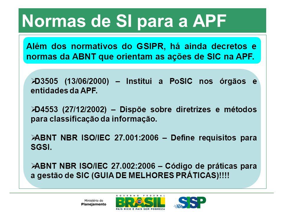 Normas de SI para a APF Além dos normativos do GSIPR, há ainda decretos e normas da ABNT que orientam as ações de SIC na APF.