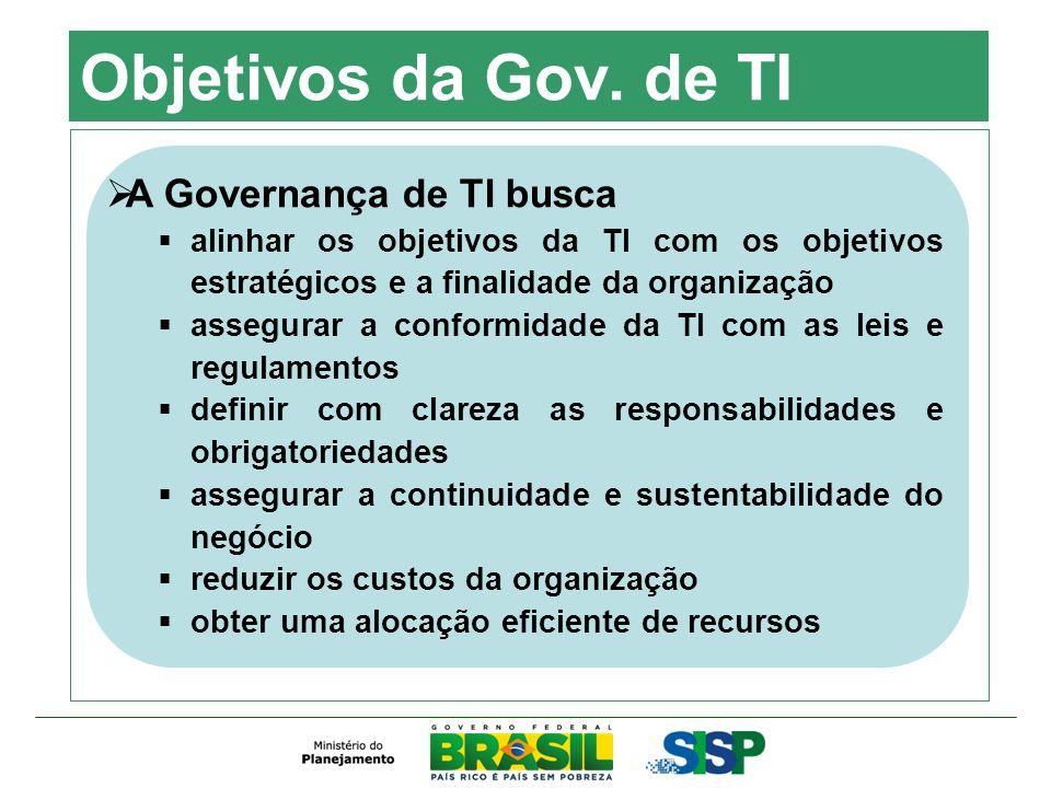 Objetivos da Gov. de TI A Governança de TI busca