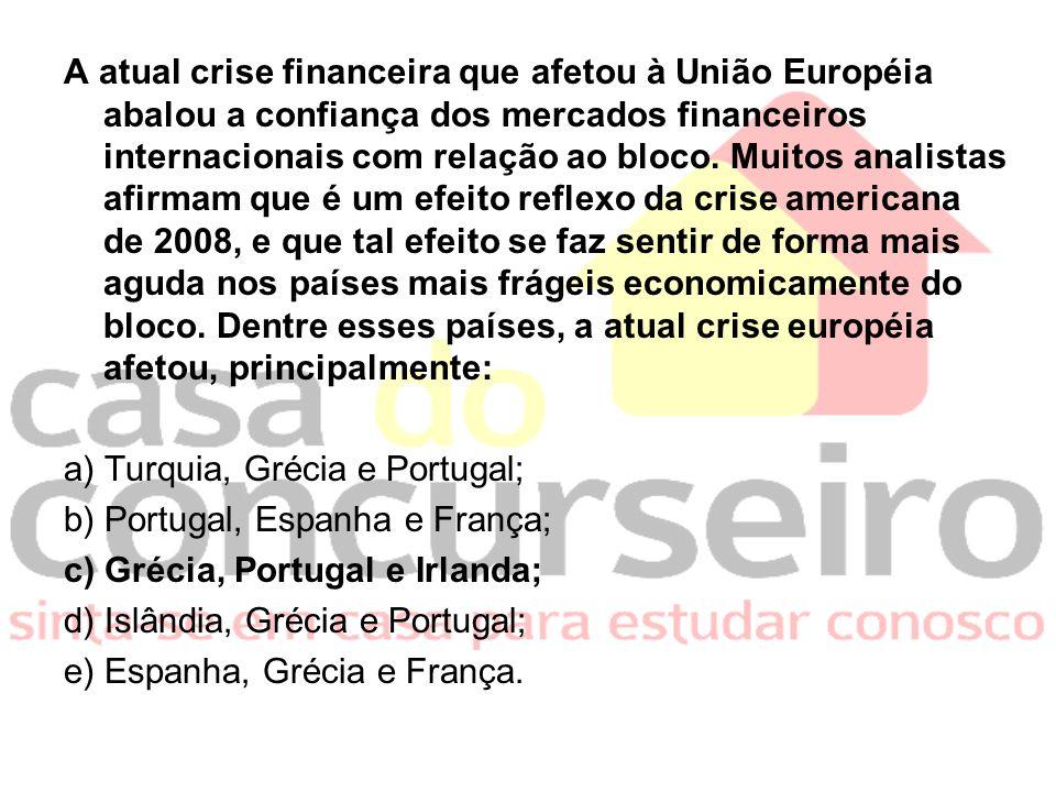 A atual crise financeira que afetou à União Européia abalou a confiança dos mercados financeiros internacionais com relação ao bloco.
