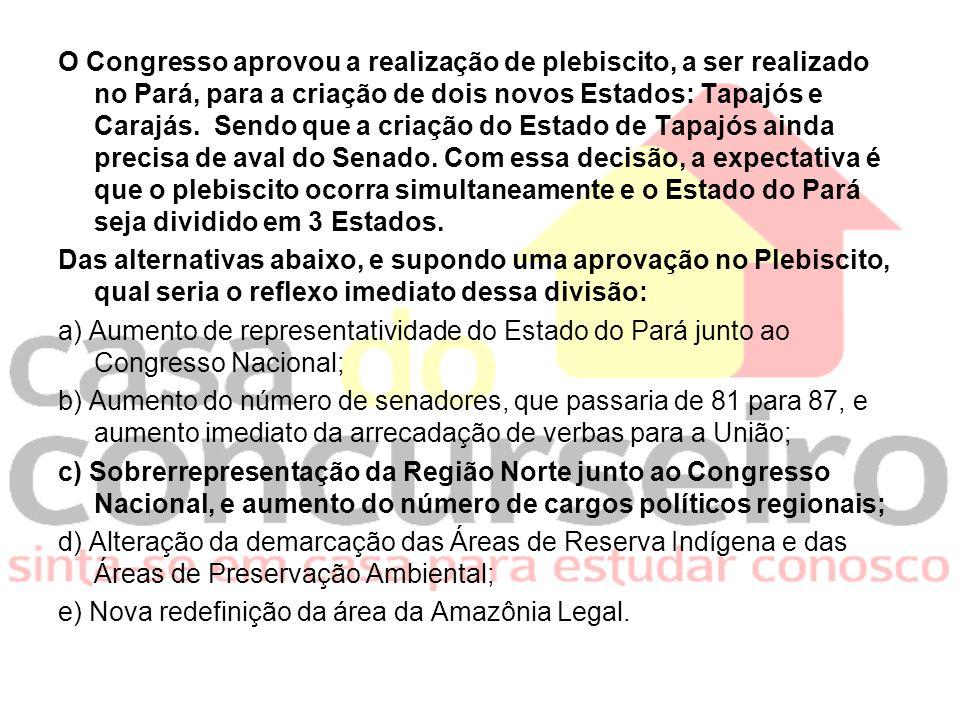 O Congresso aprovou a realização de plebiscito, a ser realizado no Pará, para a criação de dois novos Estados: Tapajós e Carajás.