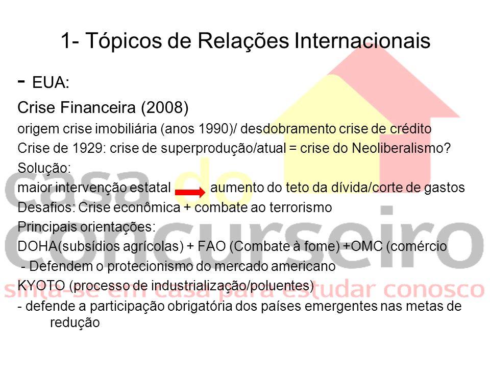 1- Tópicos de Relações Internacionais