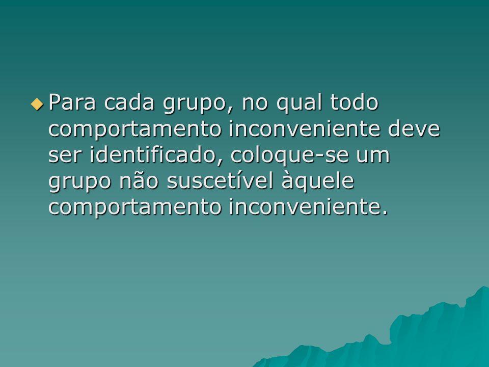 Para cada grupo, no qual todo comportamento inconveniente deve ser identificado, coloque-se um grupo não suscetível àquele comportamento inconveniente.