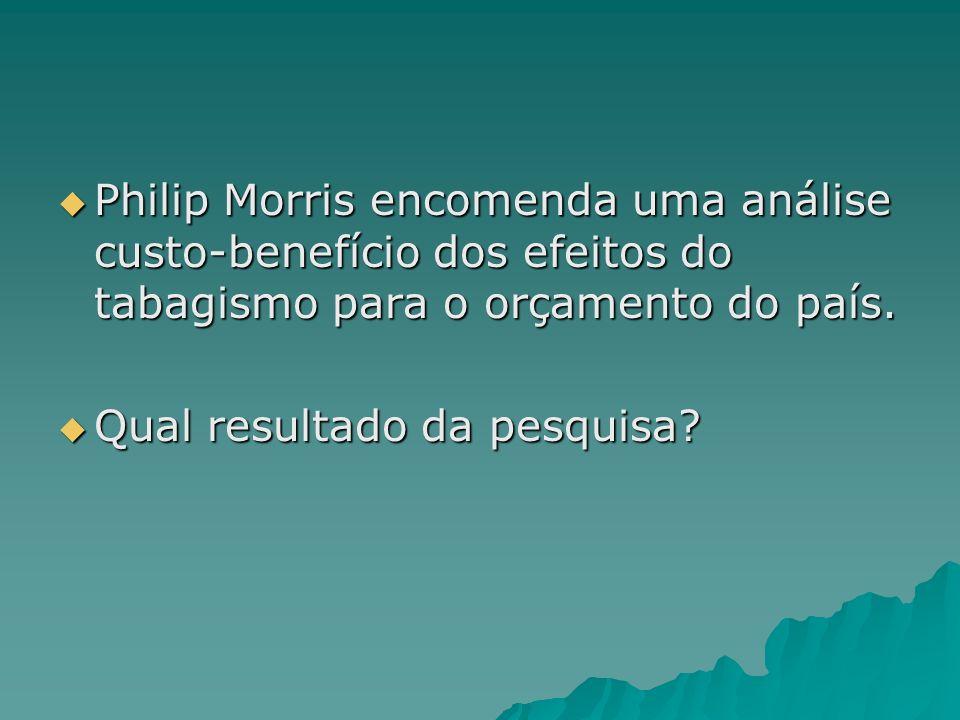 Philip Morris encomenda uma análise custo-benefício dos efeitos do tabagismo para o orçamento do país.