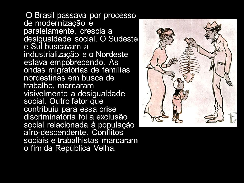 O Brasil passava por processo de modernização e paralelamente, crescia a desigualdade social.
