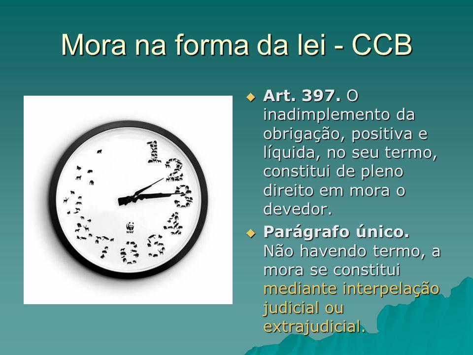 Mora na forma da lei - CCB
