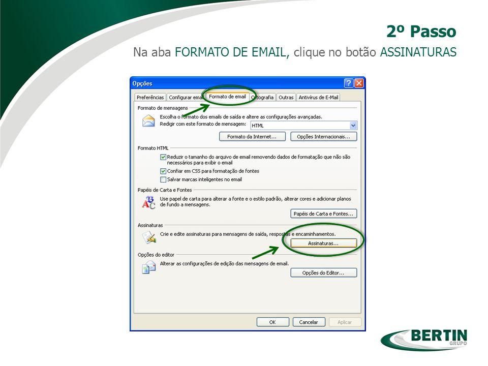 2º Passo Na aba FORMATO DE EMAIL, clique no botão ASSINATURAS