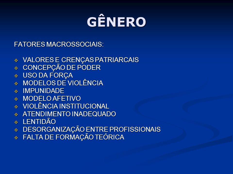 GÊNERO FATORES MACROSSOCIAIS: VALORES E CRENÇAS PATRIARCAIS