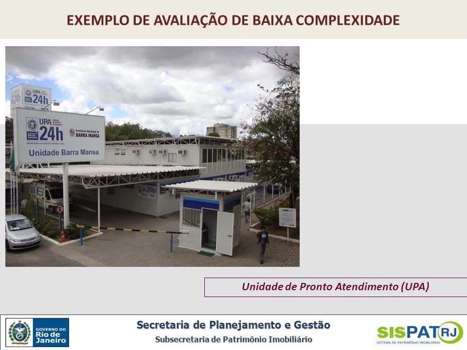 EXEMPLO DE AVALIAÇÃO DE BAIXA COMPLEXIDADE