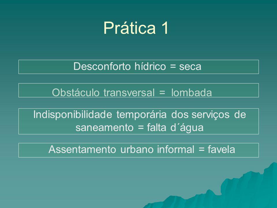 Prática 1 Desconforto hídrico = seca Obstáculo transversal = lombada