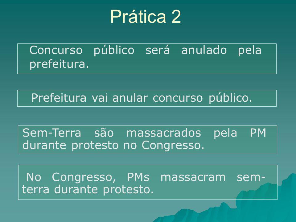 Prática 2 Concurso público será anulado pela prefeitura.