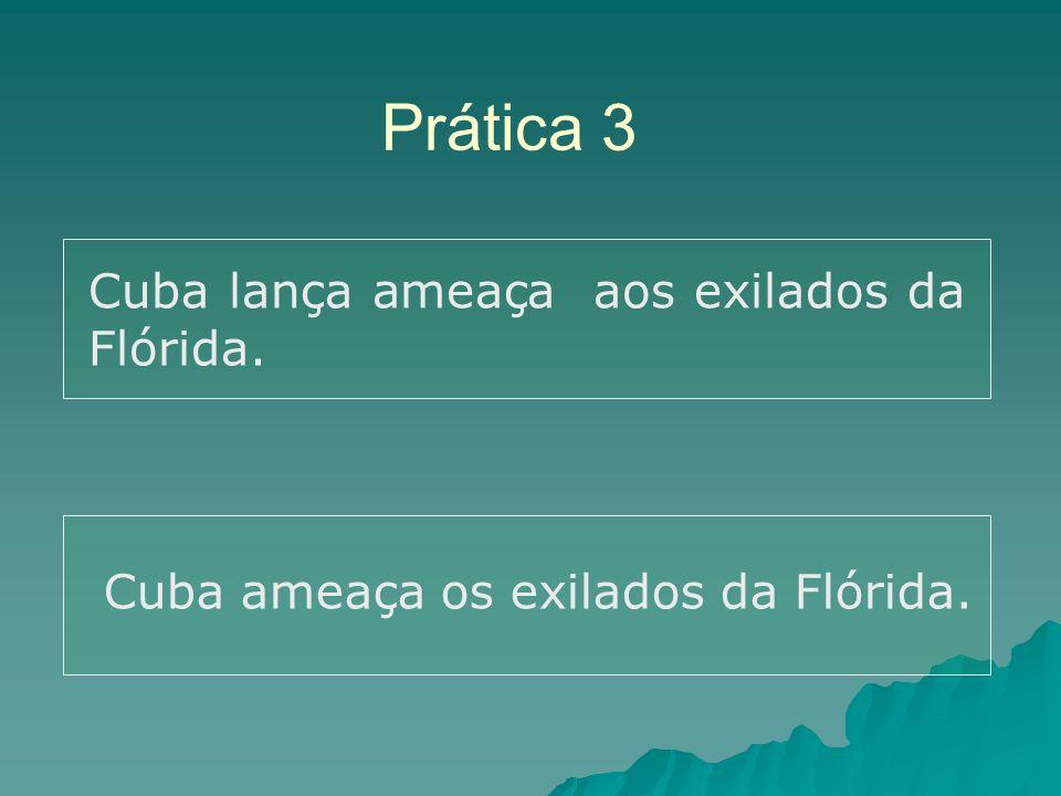 Prática 3 Cuba lança ameaça aos exilados da Flórida.