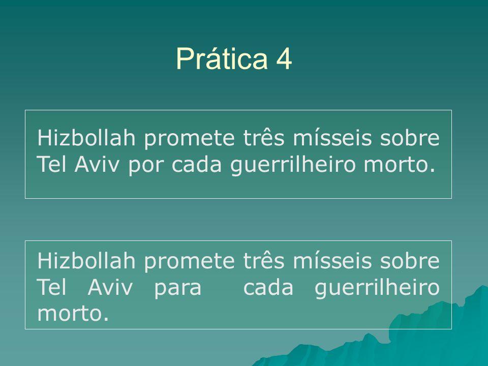 Prática 4 Hizbollah promete três mísseis sobre Tel Aviv por cada guerrilheiro morto.